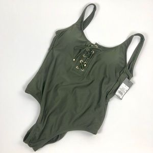 NWT!! Mossimo Lace Up Khaki One Piece Swimsuit